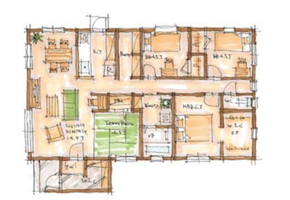 BROOKLYN FLAT 29.95坪プランの間取りイメージ図