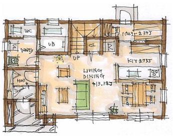 BROOKLYN Natural 30坪プランのイメージ図 1F