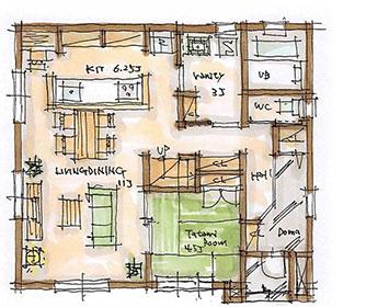 BROOKLYN Natural 36坪プランのイメージ図 1F