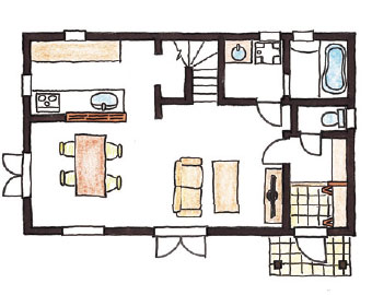 Swedish Style 30坪プランのイメージ図 1F