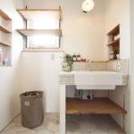 洗面廻りの壁埋込収納