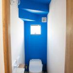 青のアクセント壁が効いたトイレ