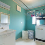 グリーンの壁の洗面所